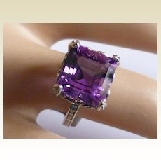Fine large Amethyst & Diamond Ring