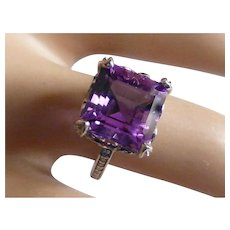 Fine large Amethyst & Diamond Ring