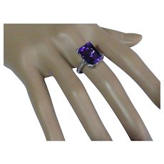 Large Amethyst  Diamond Ring
