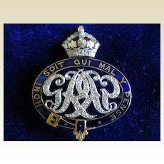 Diamond and 18k fine Regimental Brooch
