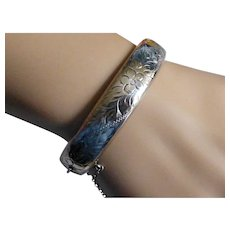 Stirling Silver Hand engraved Bangle