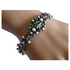 Antique Austrian - Hungarian Green Garnet & Pearl Bracelet