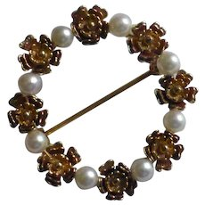 3 Colour Gold & Pearl Brooch