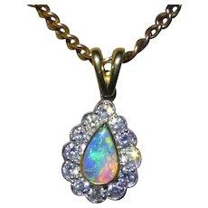 Fine Opal & Diamond 18k Pendent & Chain