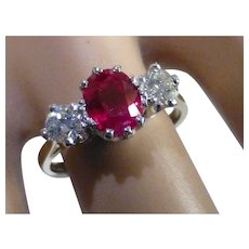 "Fine ""Pigeon"" Blood oval natural Ruby & Diamond Ring."
