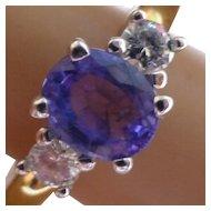 Sapphire & Diamond 18k 3 Stone ring