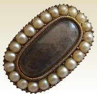Seed Pearl  Gold Brooch