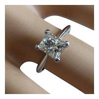 Large Platinum Princess Cut natural DIAMOND Ring * * * * *