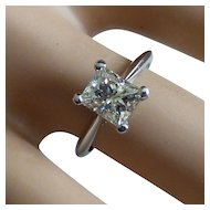 Large Platinum Princess Cut natural DIAMOND Ring * * * * *