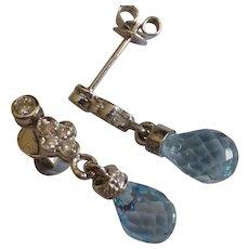 18k Pear Topaz & Diamond Ear drops