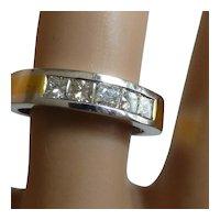 5 princess cut Diamond in 18k half Eternity Ring
