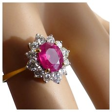 Very fine Ruby & Diamond cluster ring * * * * *