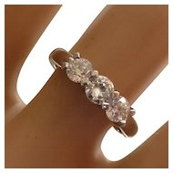 Quality 3 Stone Diamond Platinum Ring * * * * *