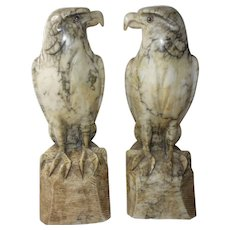 Pair Italian marble Falcons 1930's hand carved art sculpture statues Carrera marble