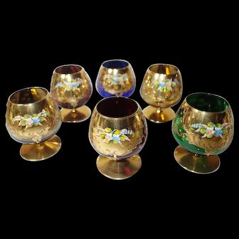 6 Bohemian Harlequin Brandy Glasses