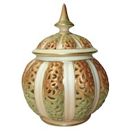 Royal Worcester reticulated urn and cover potpourri pot and cover