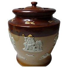 "Royal Doulton Salt Glazed Tobacco jar ""Country Pursuits"""