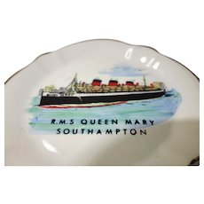 R.M.S. Queen Mary Southampton commemorative hand painted ashtray 1960's
