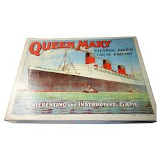 "Queen Mary ""Steaming Round Great Britain"" board game. 1930's"
