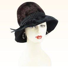 1960s Vintage Hat Jacques Heim Black and Brown Faux Fur Brimmed Cloche Sz 21