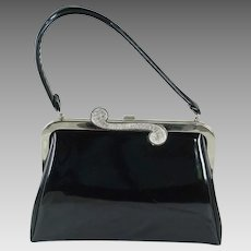 1970s Vintage Handbag Patent Leather Silvertone Purse