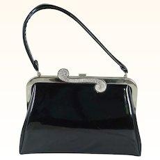 1970s Vintage Handbag Patent Leather Silvertone Purse