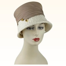 1960s Vintage Hat Ivory and Taupe Straw Cloche Style with Hatpin Sz 21 1/2
