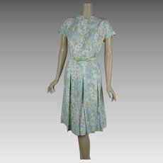 1970s Vintage Dress Pale Blue Yellow and White Flowered by Martha Manning  Sz B46 W34