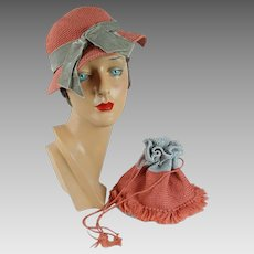1930s Vintage Crochet Shallow Crown Tilt Hat and Matching Drawstring Handbag Mellon and Silver