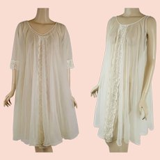 53e4f3f6142 1960s Vintage Nightgown and Robe - Sheer Ivory Chiffon Peignoire Negligee  Sz SM