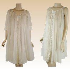 b8b4c48389 1960s Vintage Nightgown and Robe - Sheer Ivory Chiffon Peignoire Negligee  Sz SM