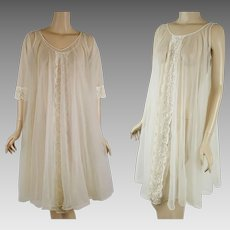 1960s Vintage Nightgown and Robe - Sheer Ivory Chiffon Peignoire Negligee Sz SM
