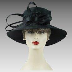 Vintage Hat Black Wide Brim Audrey Style by Giovannio Sz 23