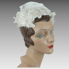 1960s Vintage Hat White Silk Floral Clip Hat, Half Hat