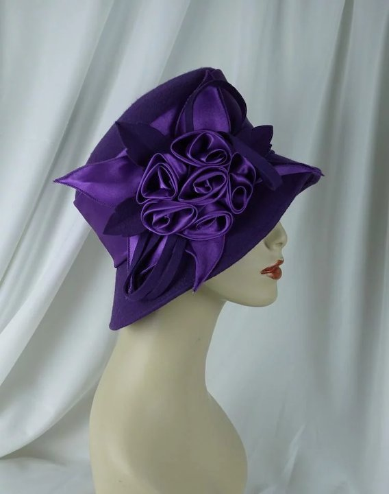 e7cc794126270 Vintage 90s Hat Dark Purple Church Lady Asymmetrical Sz 23   Alley ...