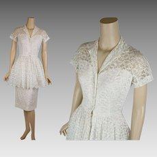 1950s Vintage Dress White Illusion Lace Wedding Party Dress w/ Peplum B34 W24 Sz XS