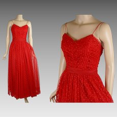 1980s Vintage Formal Gown Bright Red Evening Gown by Inner Circle Sz 11/12 B36 W27