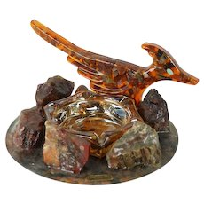 1960s Petrified Wood Ashtray - Native American Theme from Arizona - Souvenir