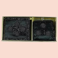 Vintage Black Satin Beaded Change Purse and Wallet in Original Box NOS by Carousel