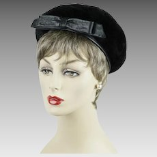 1960s Vintage Hat Black Sheared Beaver and Leather by Phyllis Sz 22