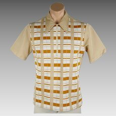 1960s Vintage Shirt Tan and Cream Plaid Zipper Neck by Towncraft Sz XL C42