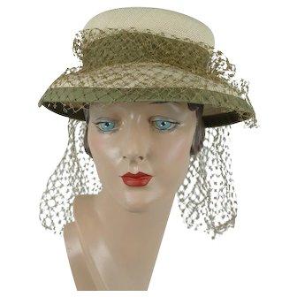 1930s Vintage Hat Natural Panama Straw Brimmed Hat Sz 21
