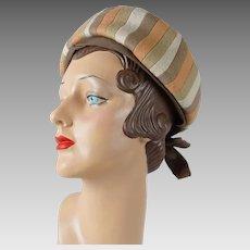 1960s Vintage Hat Felt Earthtone Stripe Banded Pillbox Sz 21