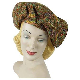 1970s Vintage Hat Gold Paisley Banded Beret Sz 21 1/2