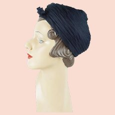 1960s Vintage Hat Navy Blue Organdy Tucked and Peaked by Jacques Sz 21