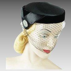 1950s Vintage Hat Black Satin and Velvet Veiled Asymmetrical Cocktail Beret