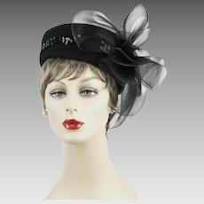 Black Sequin Church Lady Hat - Pillbox Style w/ Netting Sz 21