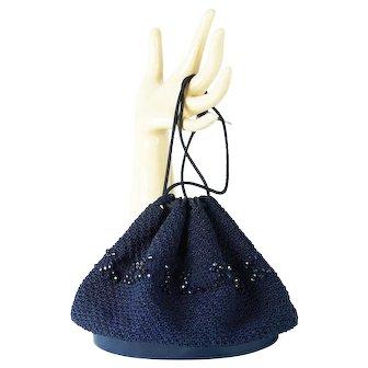 1950s Vintage Drawstring Navy Blue Crochet Gimp Handbag