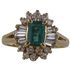 Gorgeous .50ct Emerald and Diamond 14kt Cocktail Ring