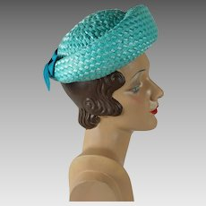 1960s Vintage Hat Teal Cello Straw Breton Sz 22